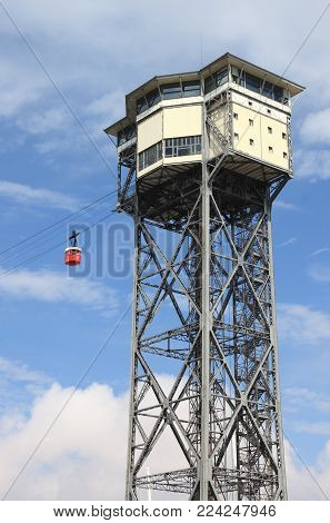 The Cable Car Tower In Barcelona, Spain