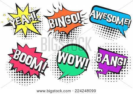 Bright contrast retro comic speech bubbles with colorful YEAH, BINGO, WOW, AWESOME, BANG. Black outline balloons with halftone shadow in pop art style for advertisement, comics book design, label