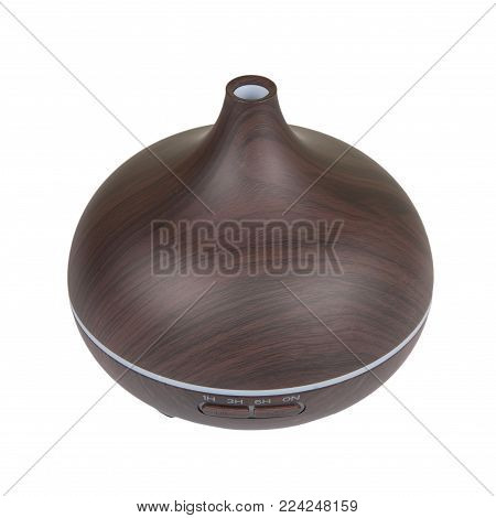 Electric wooden aroma oil diffuser isolated on white background.