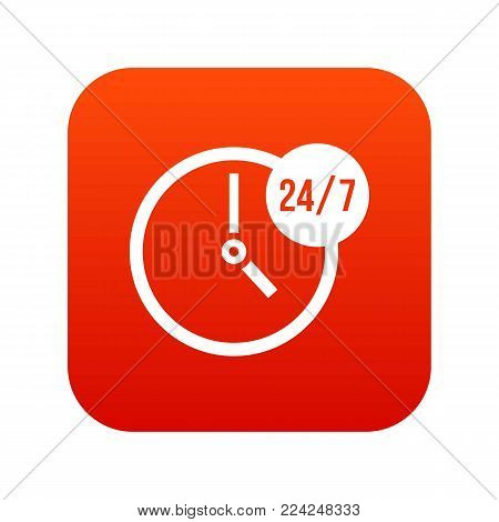 Clock 24 7 icon digital red for any design isolated on white vector illustration