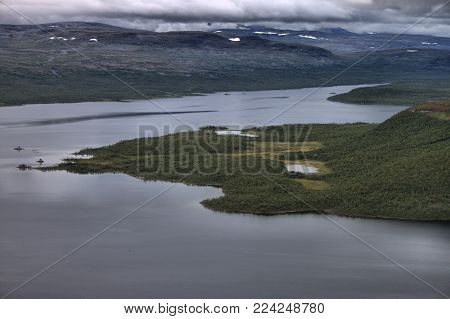Lake Kilpisjarvi from Saana fell in Lapland, Finland