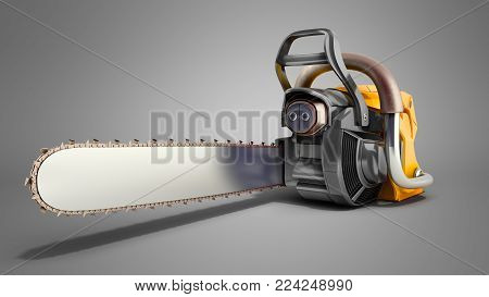 Chainsaw on grey back ground 3d illustration