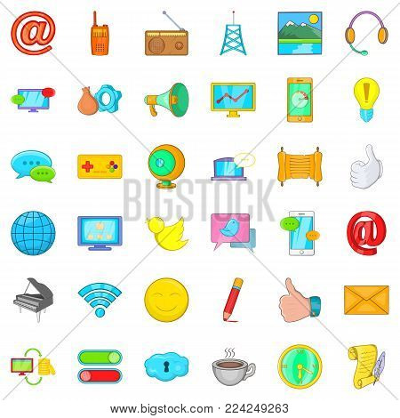 Carrier icons set. Cartoon set of 36 carrier vector icons for web isolated on white background