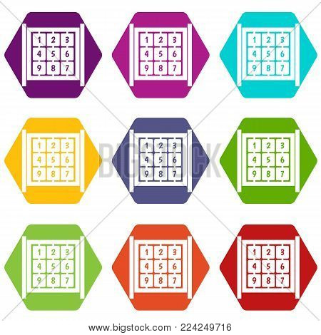 Cubes with numbers on playground icon set many color hexahedron isolated on white vector illustration