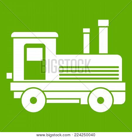 Locomotive icon white isolated on green background. Vector illustration