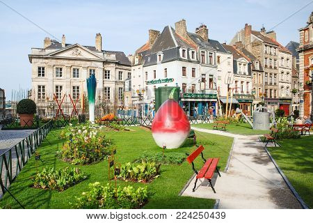 BOULOGNE-SUR-MER, FRANCE - JULY 1, 2010: view of garden Jardin Ephemere on Place Godefroy de Bouillon in summer morning. Boulogne is coastal city in department of Pas-de-Calais of France