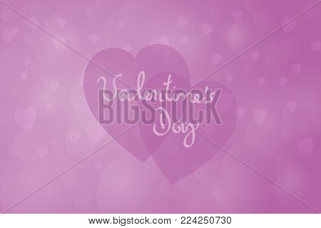Valentine's day. Background with hearts and frame in purple colors. Text: Valentine's Day.
