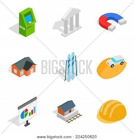 Capital expenditure icons set. Isometric set of 9 capital expenditure vector icons for web isolated on white background