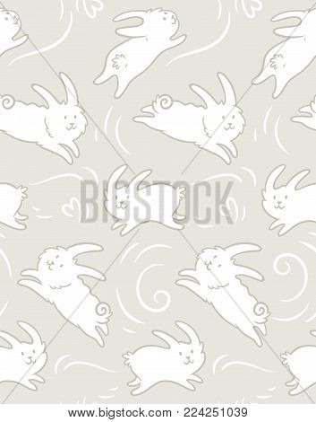 Seamless pattern with cute bunnies. White cute rabbits isolated on beige background. Hand drawn shapes. Childish texture. Great for fabric, textile