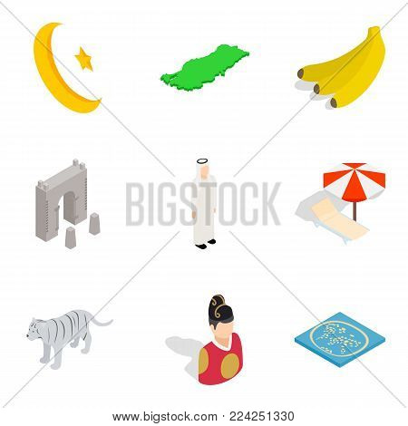 Islam icons set. Cartoon set of 9 islam vector icons for web isolated on white background