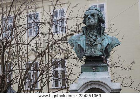klagenfurt, austria / klagenfurt, 01/29/2018: picture of a statue of the bust of Franz Josef graf enzenberg (1747-1821) in klaghenfurt