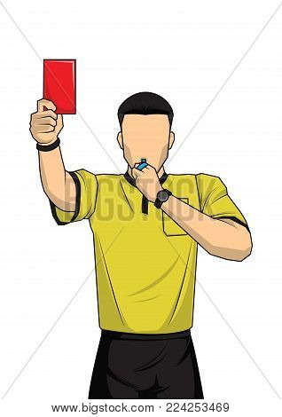 soccer referee showing red card. referee on football match showing foul. vector illustration with sport character.