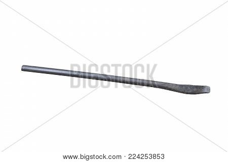 Old crowbar on white background white work wrecking .