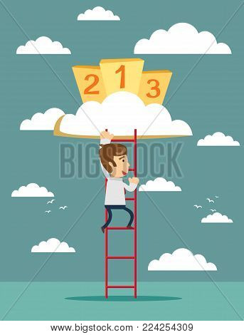 Businessman climbing to Success. Motivation concept to be successful. winner. finish. win. flat design. podium on cloud and ladder