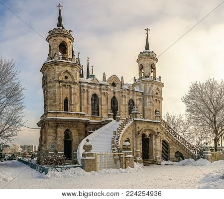 The Church in honour of the Vladimir icon of the mother of God, created in 1789 by the architect Bazhenov, in  Bykovo, Moscow region, Russia.