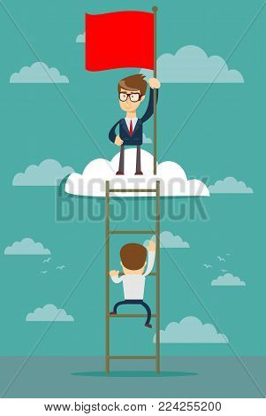 man standing while holding the career ladder to get the flag in the clouds. Career, success concept. A contemporary style with pastel palette soft blue tinted background