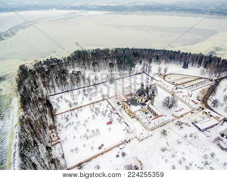 Kaunas, Lithuania: Pazaislis Monastery and Church, located on a peninsula in Kaunas Reservoir, in winter