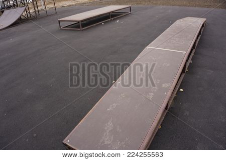 Ramp for practicing skateboarding or other sports in public park