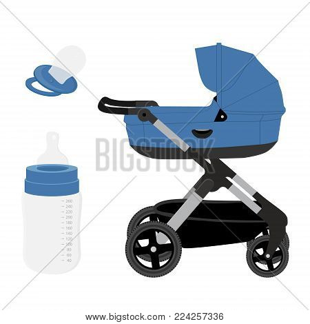 Vector illustration blue baby boy stroller, pram or perambulator, feeding bottle and pacifier. Icon set, collection isolated on white background