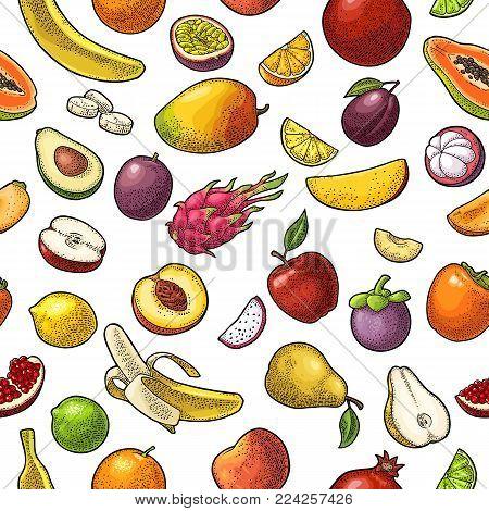 Seamless pattern fruits. Mango, lime, banana, maracuya, avocado, dragon, lemon, orange, garnet, peach, apple, pear, plum, passion, papay, persimmon, cherry. Vector color vintage engraving isolated