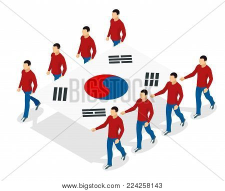 The opening ceremony concept. Carrying out the flag of South Korea. International sports competitions. Vector isometric illustration