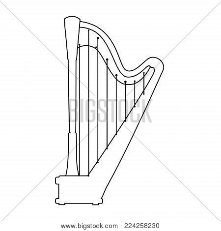 Vector outline drawing line classical music instrumet. Pedal harp isolated on white background.