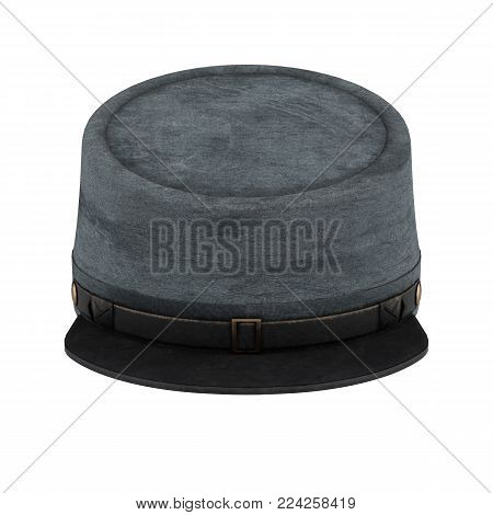 Civil War Confederate Cavalry Hat. American Confederate Kepi. Front view. 3D render Illustration isolated on a white background.