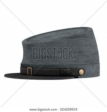 Civil War Confederate Cavalry Hat. American Confederate Kepi. Side view. 3D render Illustration isolated on a white background.