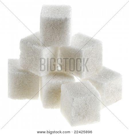 sugar cubes on white