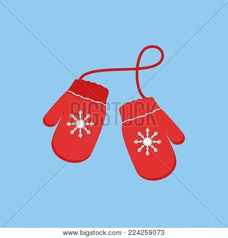 Vector illustration pair of knitted christmas mittens on blue background. Mitten icon. Christmas greeting card with mittens