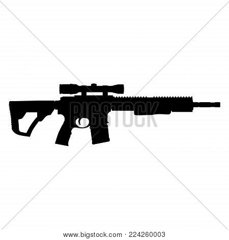 Vector illustration of an assault rifle icon. Automatic fire rifle.