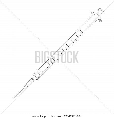 Vector illustration outline thin line syringe with vaccine isolated on white background. Vaccination, medical equipment. Syringe icon