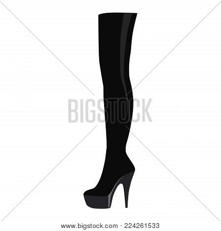 Vector illustration black thigh high boots isolated on white background. Woman fashion boots design