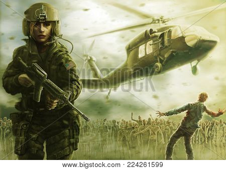 Woman pilot and zombie apocalypse. Drawing illustration in the genre of horror. Zombie apocalypse zone. Warm green color.