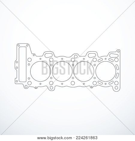 Vector cylinder head gasket isolated. Vector illustration eps 10
