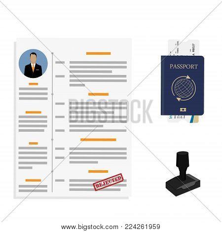 Vector illustration visa stamping rejected. Passport or visa application. Travel immigration stamp