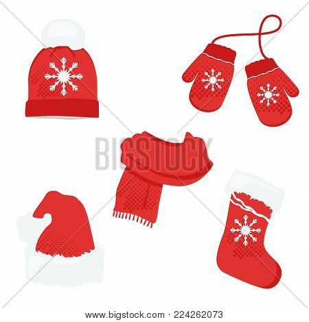 Red winter clothes with snowflake. Knitted hat, santa hat, sock, scarf and mittens. Vector icon set
