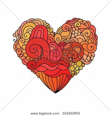 Ornamental St.Valentine's greeting card with colorful zentangle doodle heart sketch. Ethnic tribal vector heart illustration with waves and spirals pattern.