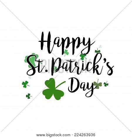 Vector abstract logo for St. Patrick's Day on Shamrock background, irish Clover composition with label saint patrick day on shamrock leaf pattern backdrop