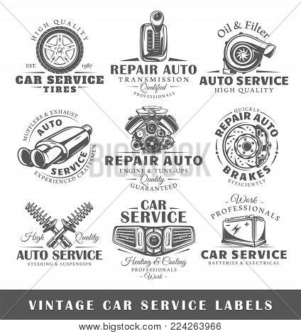 Set of vintage car service labels. Templates for the design of labels and emblems. Collection of car service symbols: tire, engine, muffler. Vector illustration