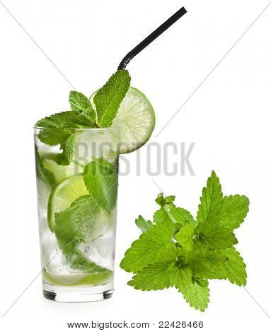 Fresh mojito isolated on white background