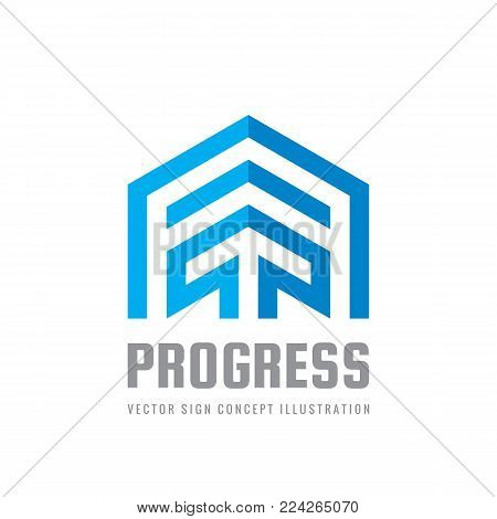 Progress - vector sign template concept illustration. arrow creative sign. Growth business trend symbol. Graphic design element.