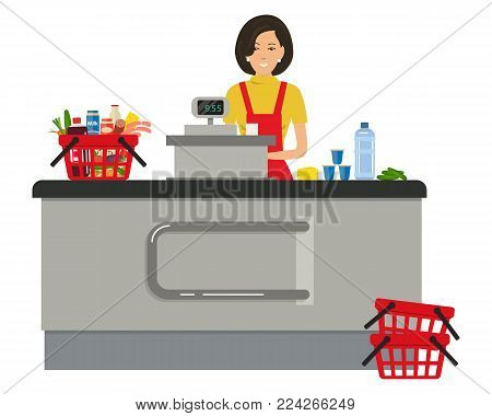 Web banner of a supermarket cashier. The young woman is standing near the cash register. There is also a red shopping cart with products in the picture. Vector illustration.
