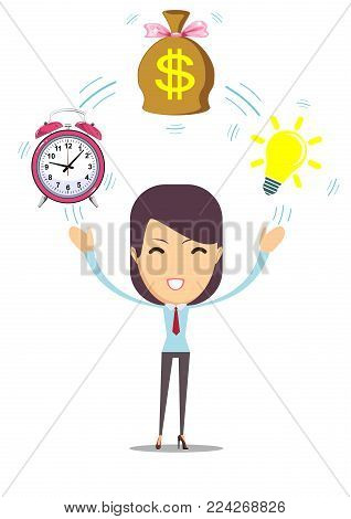 Young woman and idea, money time in business. Stock flat vector illustration.