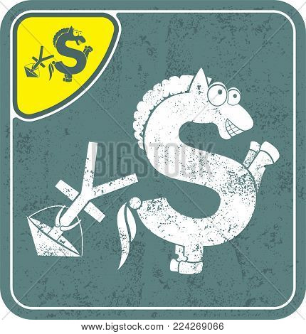 dollar icon like konkur horse on shabby background vector illustration. Money flat icon. Cash icon in Grunge style. Currency sign icon.