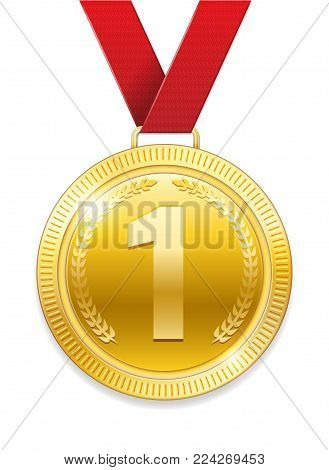 Champion Award gold Medal for sport prize. Shiny medal with red ribbon isolated on white background. Vector illustration EPS 10