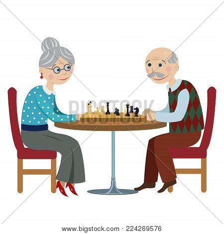 Happy cheerful Grandfather and Grandmother playing chess