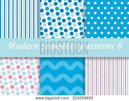Polka dot, strips wave seamless pattern set. Digital Paper collection, modern style. Scrapbooking Kit. Vector illustration