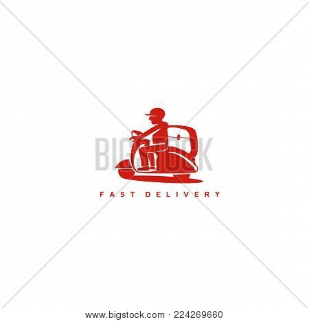 minimal logo design man on the scooter on white background with red color typography vector illustration.