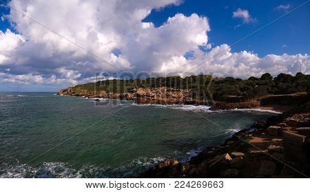 seaview to Roman ruins of Tipasa in Algeria